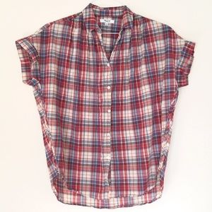 Madewell | Short Sleeve Plaid Button Up Top XS